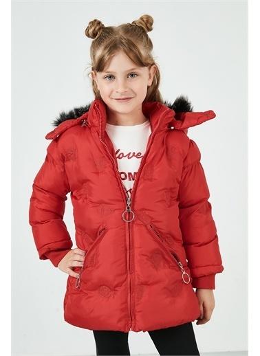 Lela Lela Yakası Suni Kürklü Kapüşonlu Şişme Mont Kız Çocuk   Kırmızı